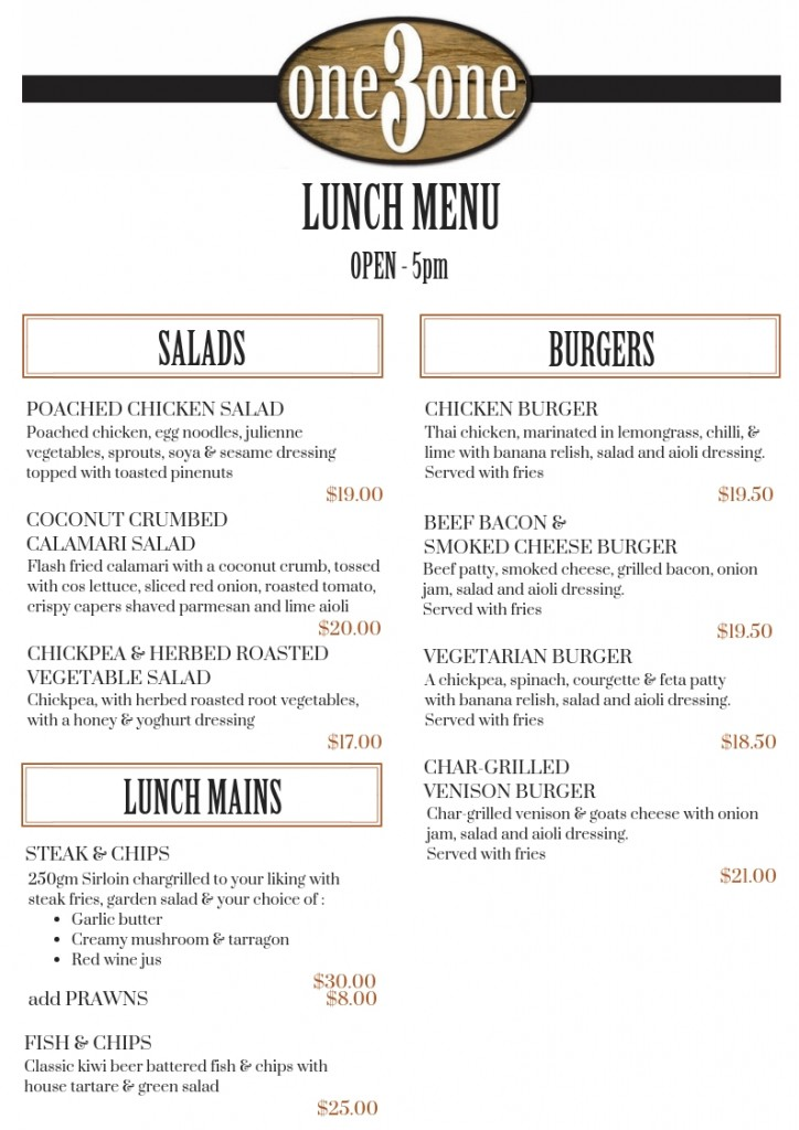 one3one Menu Lunch Oct 2018
