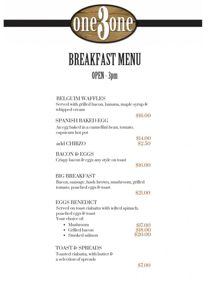 one3one Menu Breakfast Oct 2018