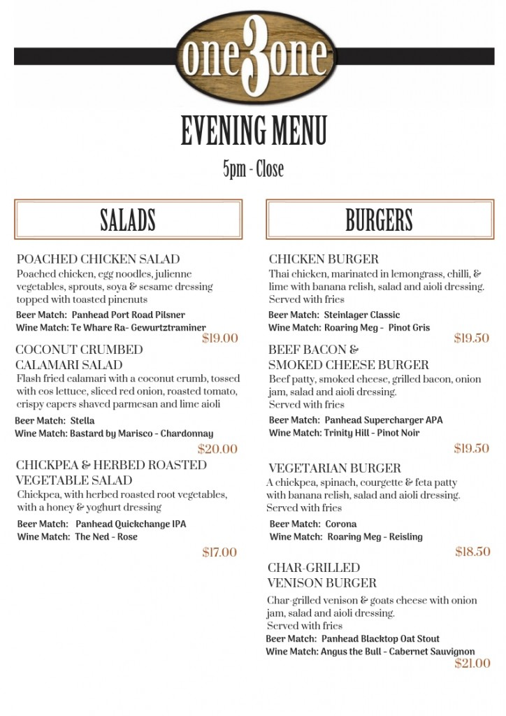 one3one Menu Dinner Salads & Burgers Oct 2018