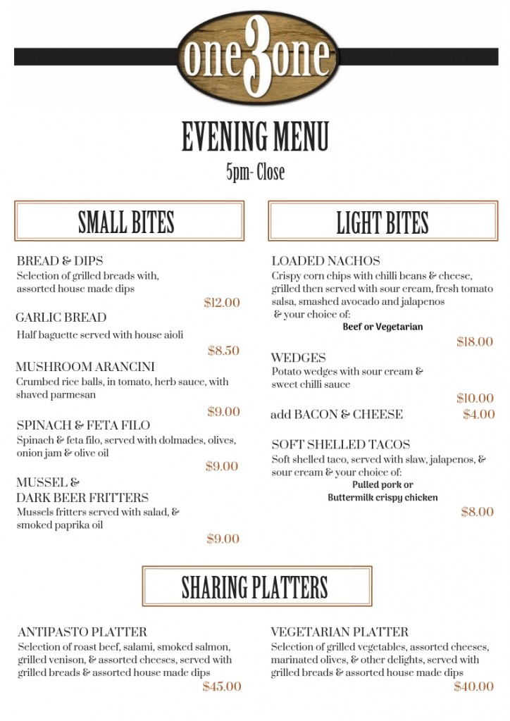 one3one Menu Dinner Small & Light Bites Oct 2018