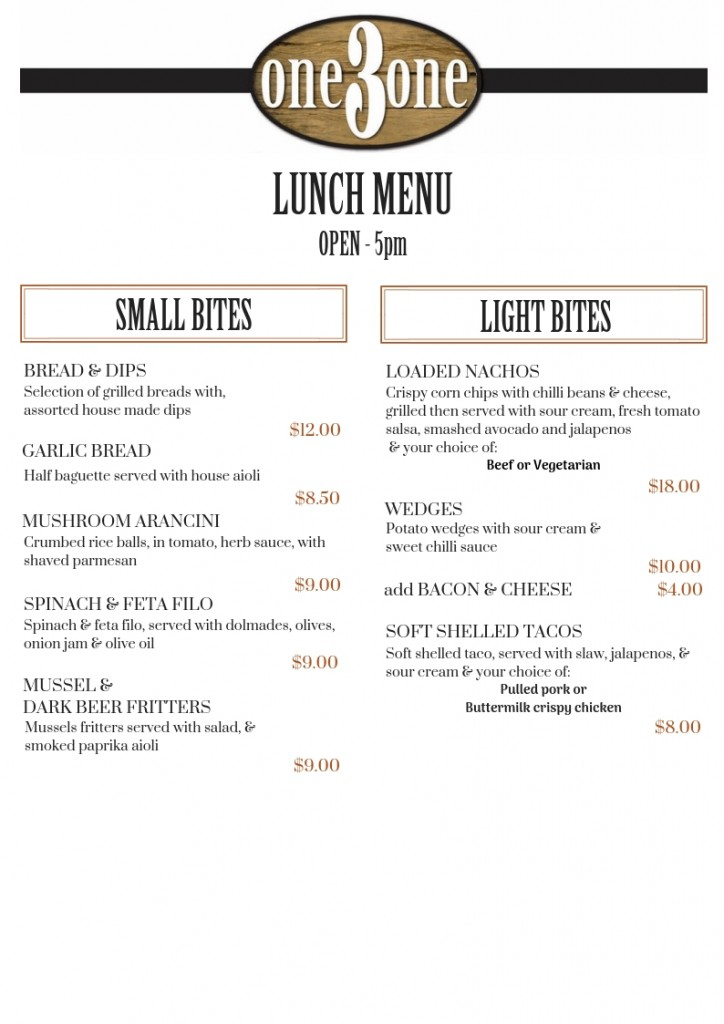 one3one Menu Lunch Small & Light Bites Oct 2018