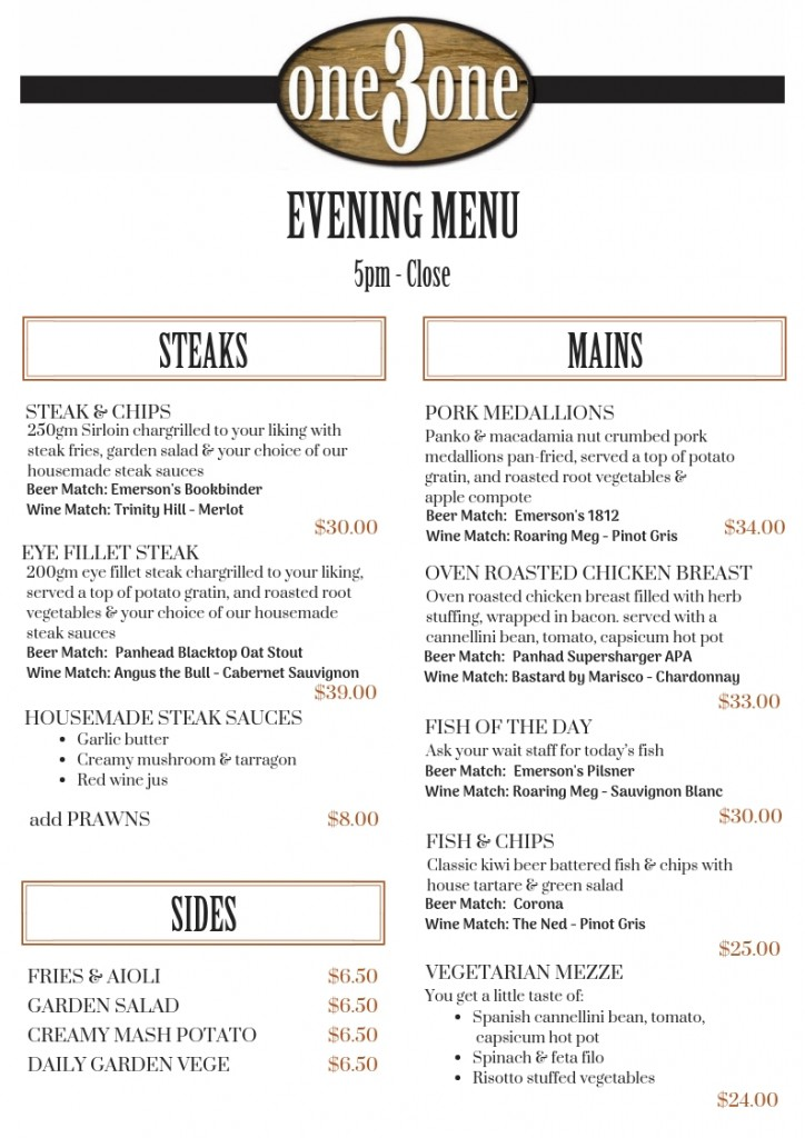one3one Menu Dinner Mains & Sides Oct 2018